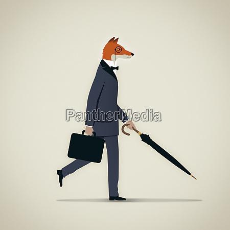 elegant businessman with fox head