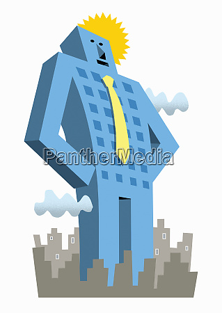tall businessman skyscraper standing out from