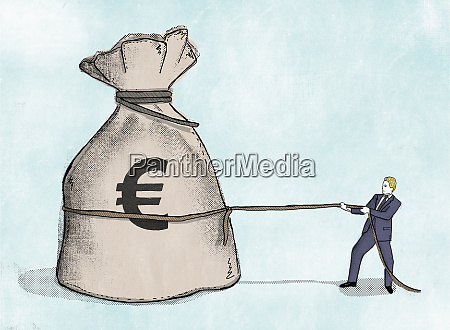 businessman pulling at rope around large
