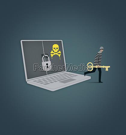 burglar carrying key away from laptop