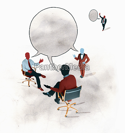 businessmen discussing in connected speech bubble