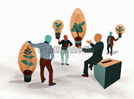 suggestion box and businessmen discussing different