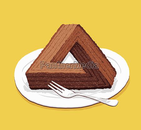 optisk illusion trekantet chokolade kage
