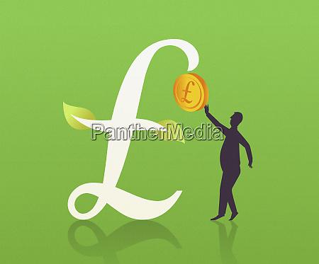 man picking pound coin off pound