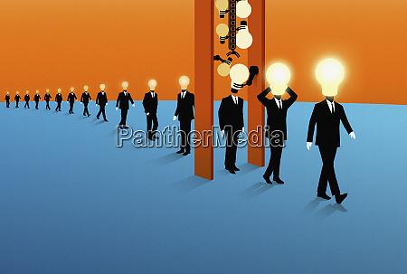 row of businessmen with dim light