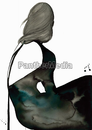 fashion illustration af kvinde ifort sort
