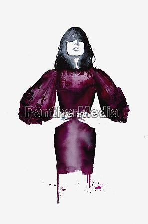 fashion illustration of model wearing maroon
