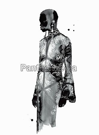 fashion illustration of model wearing ornate