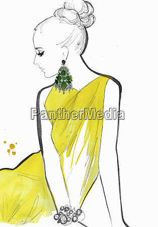 fashion illustration of model wearing yellow