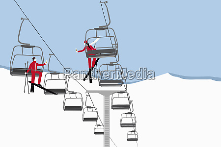 man and woman on opposite ski