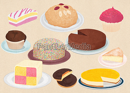 assortment of old fashioned cakes