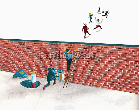 businessmen trapped behind brick wall while