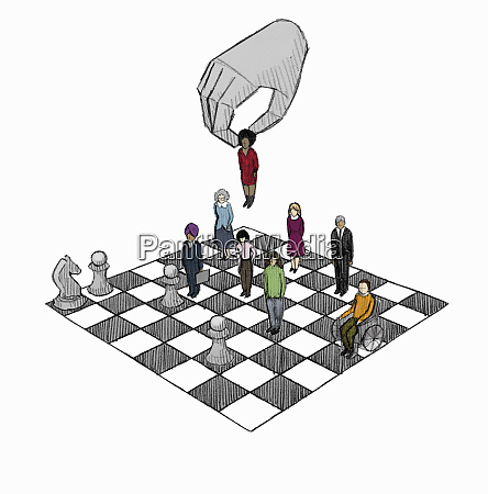 hand moving worker on chess board