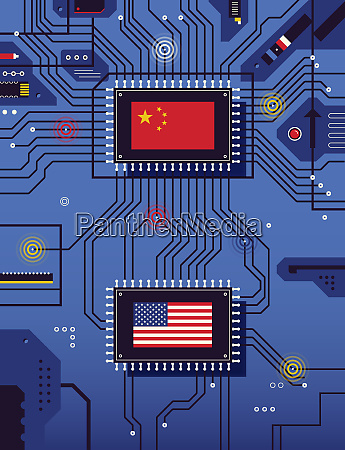 chinese and american flags connected on