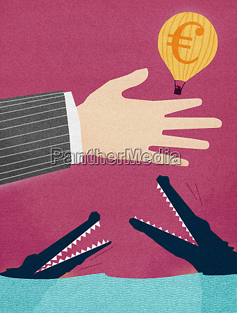 businessman releasing euro hot air balloon