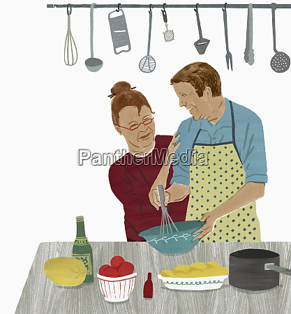older couple enjoying cooking together