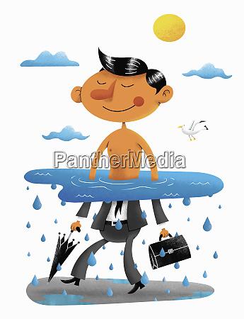 happy businessman waist deep in water