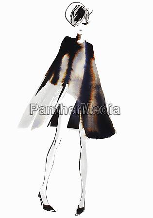 glamorous woman standing in fur coat
