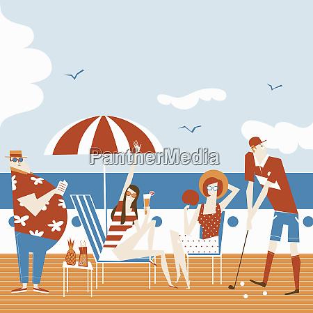 people enjoying relaxing on deck of