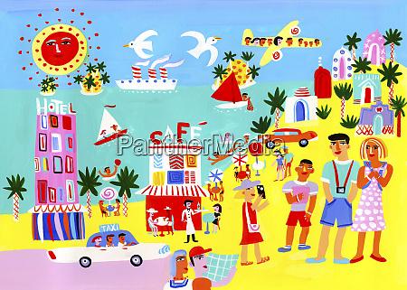 tourists enjoying sightseeing on summer vacation