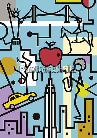 montage af new york turisme og