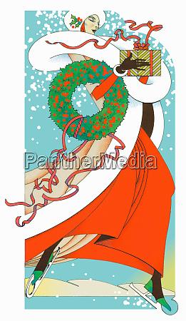 glamorous woman ice skating carrying christmas