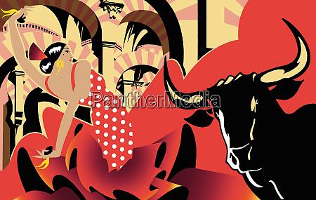 montage of flamenco dancer bullfighting and