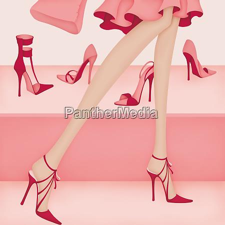 legs of woman wearing high heels