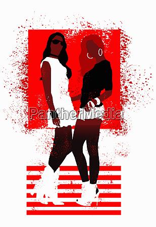 fashionable teenage girls posing in red