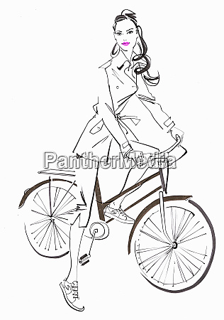 beautiful woman posing with bicycle