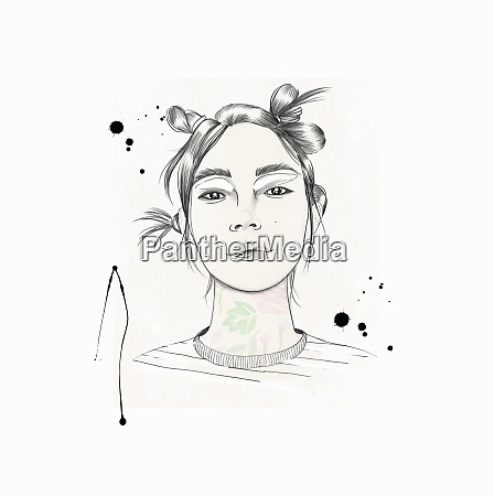 fashionable young woman with funky hairstyle