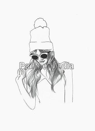 fashionable young woman wearing sunglasses and