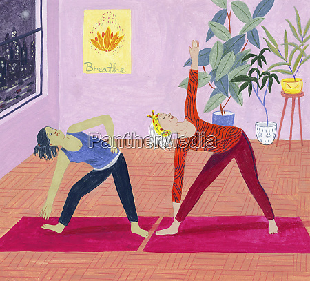 young woman struggling in exercise class