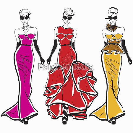 three elegant fashion models side by