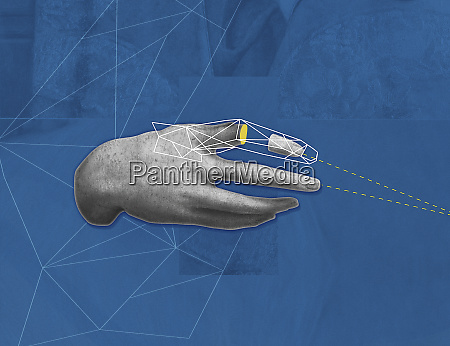 human hand with geometric pattern over