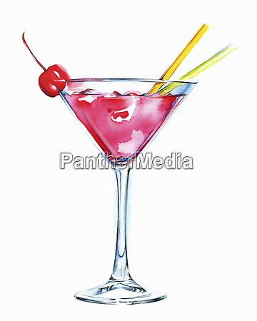 lyserod cocktail i martini glas med