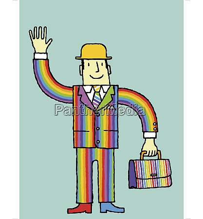 businessman in rainbow suit waving