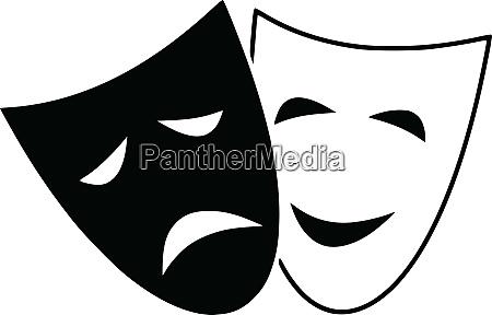tragedie dramateater komedie maske udtryk illustration