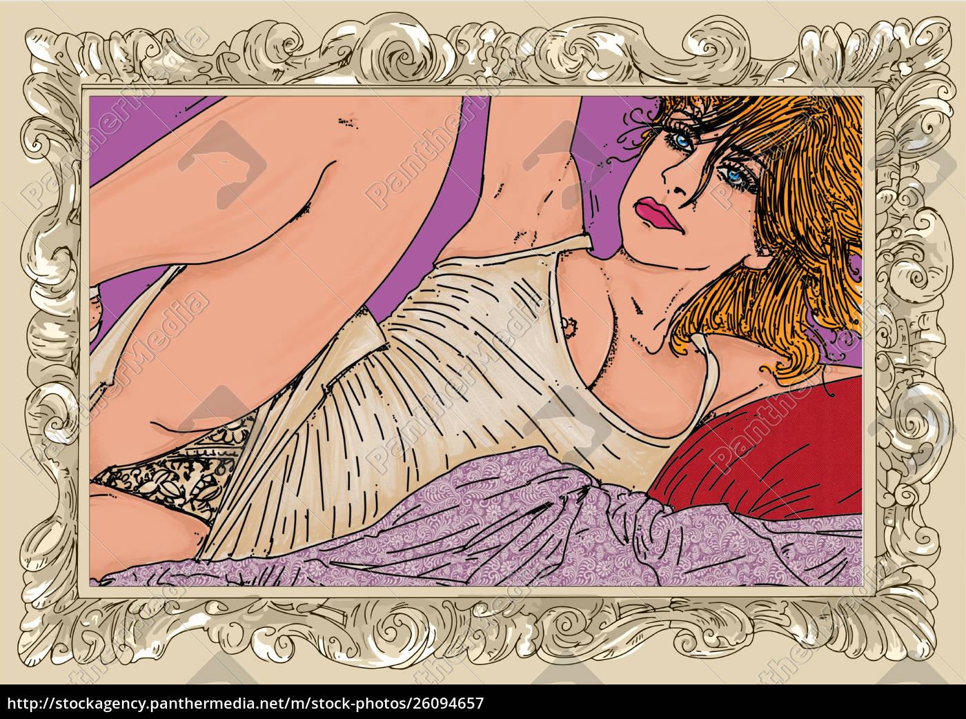 , kvinde, erotisk, raffineret, og, sensuel, linje - 26094657