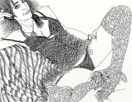 kvinde, erotisk, raffineret, og, sensuel, linje, designet - 26138898