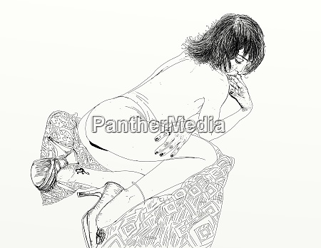 kvinde, erotisk, raffineret, og, sensuel, linje, designet - 26138900
