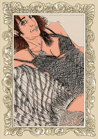 kvinde, erotisk, raffineret, og, sensuel, linje, designet - 26138909