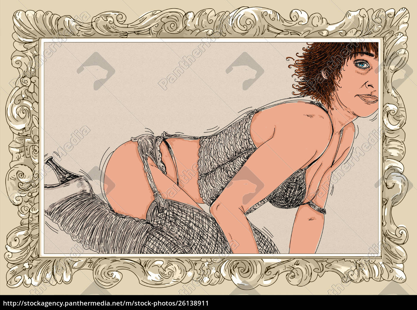 kvinde, erotisk, raffineret, og, sensuel, linje, designet - 26138911