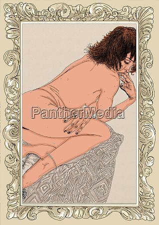 kvinde, erotisk, raffineret, og, sensuel, linje, designet - 26138913