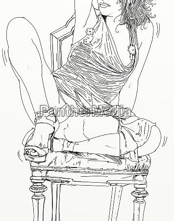 kvinde, erotisk, raffineret, og, sensuel, linje, designet - 26138915
