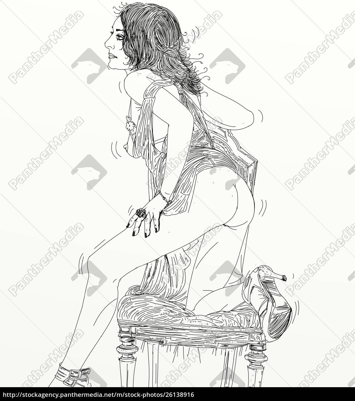 kvinde, erotisk, raffineret, og, sensuel, linje, designet - 26138916