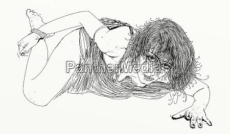 kvinde, erotisk, raffineret, og, sensuel, linje, designet - 26138920
