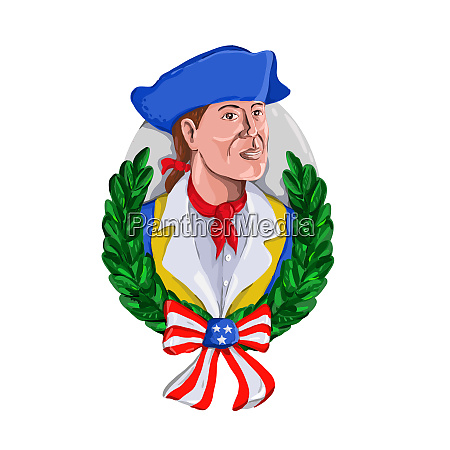 american patriot wreath watercolor retro