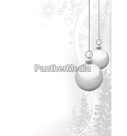white christmas balls and floral