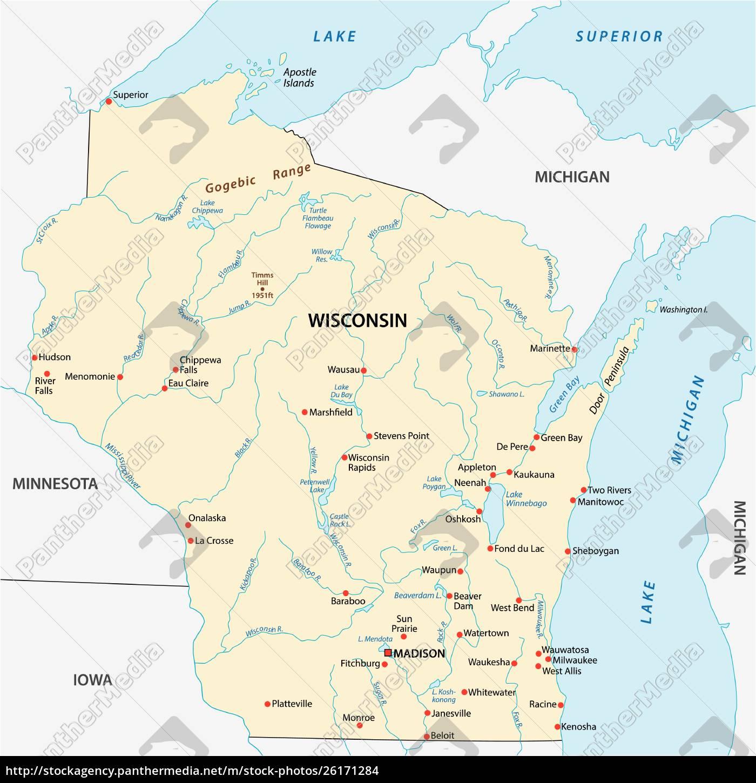 Vektor Kort Over Den Amerikanske Delstat Wisconsin Stockphoto